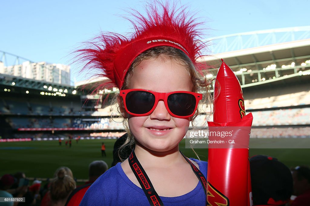 A young cricket fan shows her support during the Big Bash League match between the Melbourne Renegades and the Hobart Hurricanes at Etihad Stadium on January 12, 2017 in Melbourne, Australia.