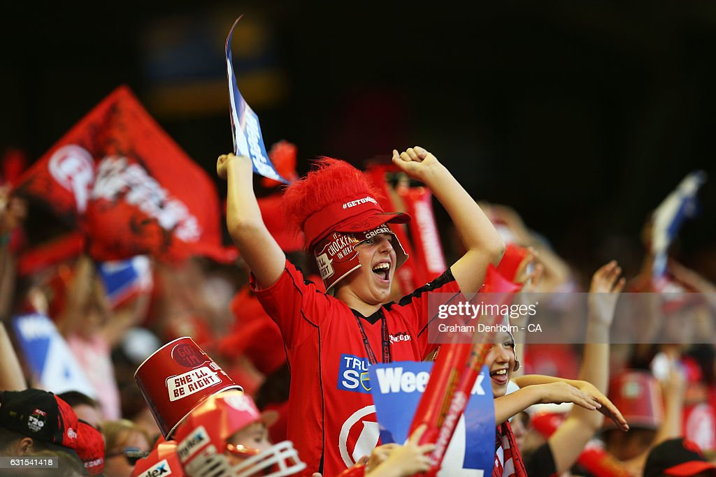 A young cricket fan shows his support during the Big Bash League match between the Melbourne Renegades and the Hobart Hurricanes at Etihad Stadium on January 12, 2017 in Melbourne, Australia.