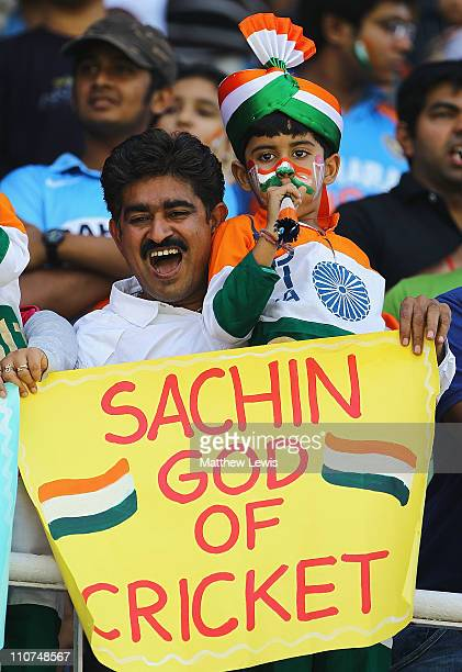 A young cricket fan shows his support to Sachin Tendulkar of India during the 2011 ICC World Cup Quarter Final match between Australia and India at...