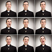 young cristian catholic priest with crucifix expression collecti