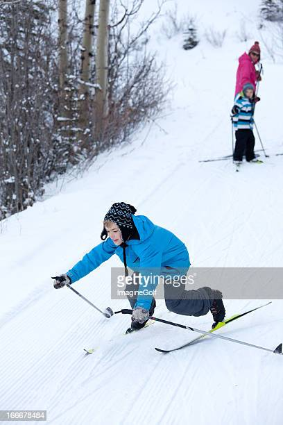 Young Cross-Country Skier Crashing