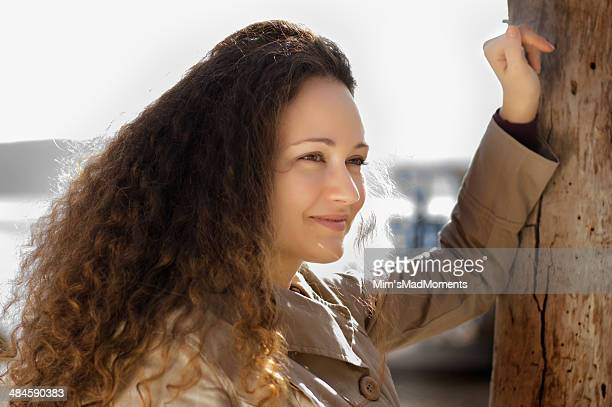 Young curly woman