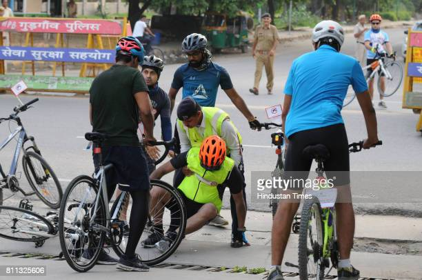 Young cyclist meets with an accident during the Cyclothon on Mission Stop Dengue on July 9 2017 in Gurgaon India The rally starting from Medicity...