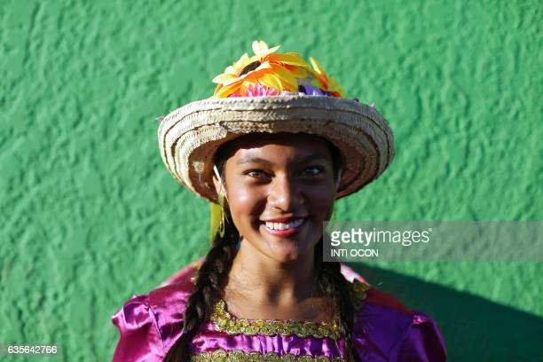 A young dancer is portrayed during the XIII Poetry Festival in Granada some 45 kilometres from Managua on February 15 2017 Poets from America Asia...
