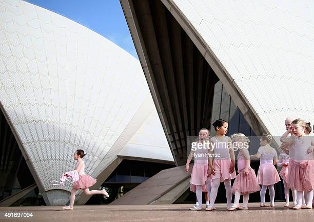 Young dancers perform during a outdoor ballet class to launch The Australian Ballets new childrens production of The Sleeping Beauty on the steps of...