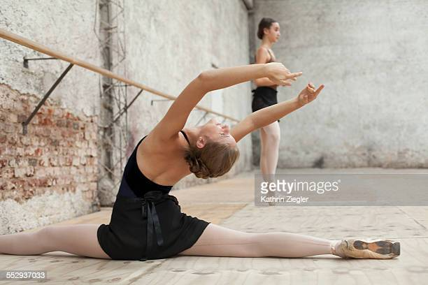 young dancers warming up before rehearsal