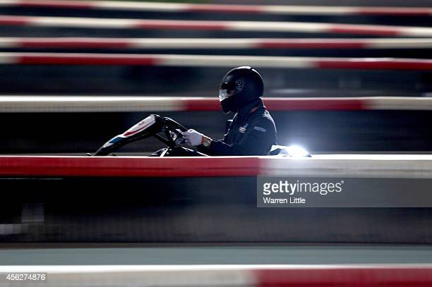 Young drivers take part in karting during the FIA Institute Young Driver Excellence Academy at Yas Marina Circuit on September 28 2014 in Abu Dhabi...