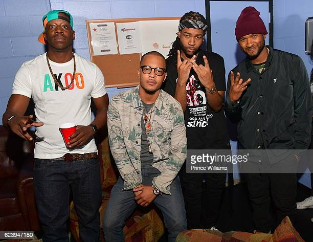 Young Dro TI PartyNextdoor and Usher Backstage at the PartyNextDoor and Jeremih Summer's Over Tour at The Tabernacle on November 14 2016 in Atlanta...