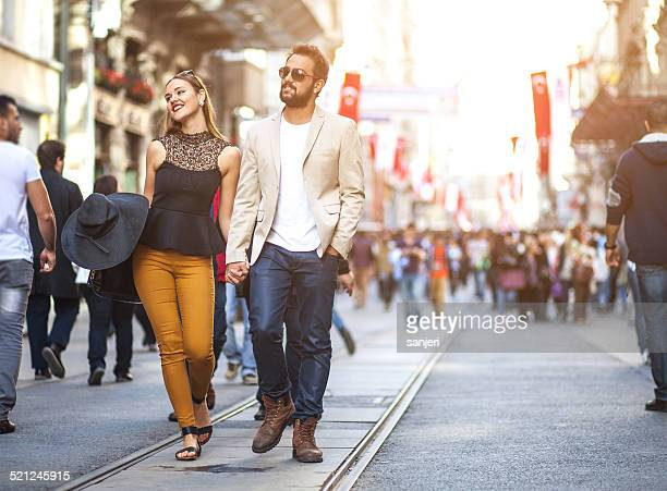 Young elegant couple on the street