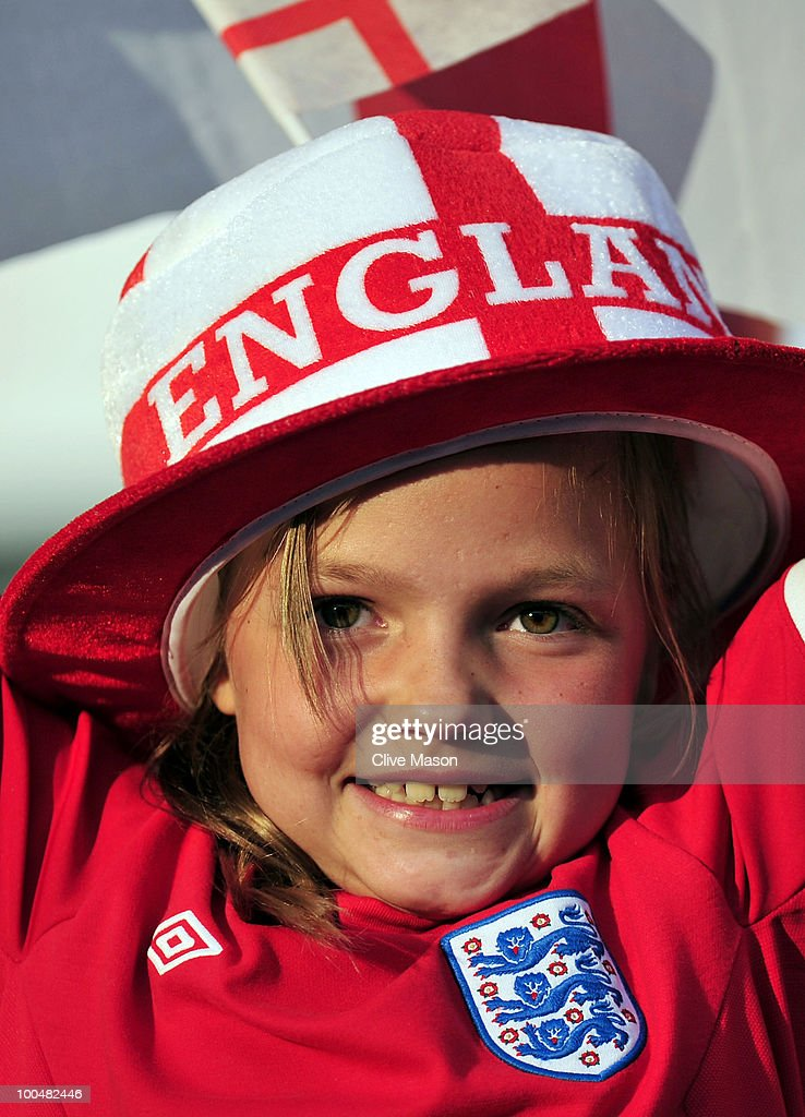 A young England fan cheers on the England Team during the International Friendly match between England and Mexico at Wembley Stadium on May 24, 2010 in London, England.