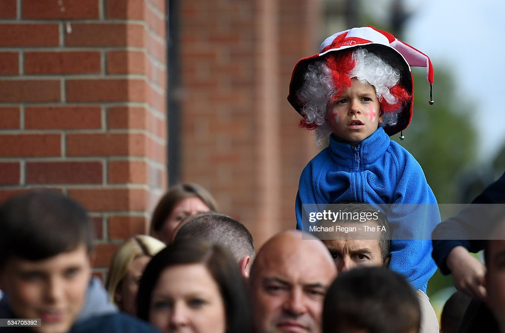A young England fan looks on ahead of the International Friendly match between England and Australia at Stadium of Light on May 27, 2016 in Sunderland, England.