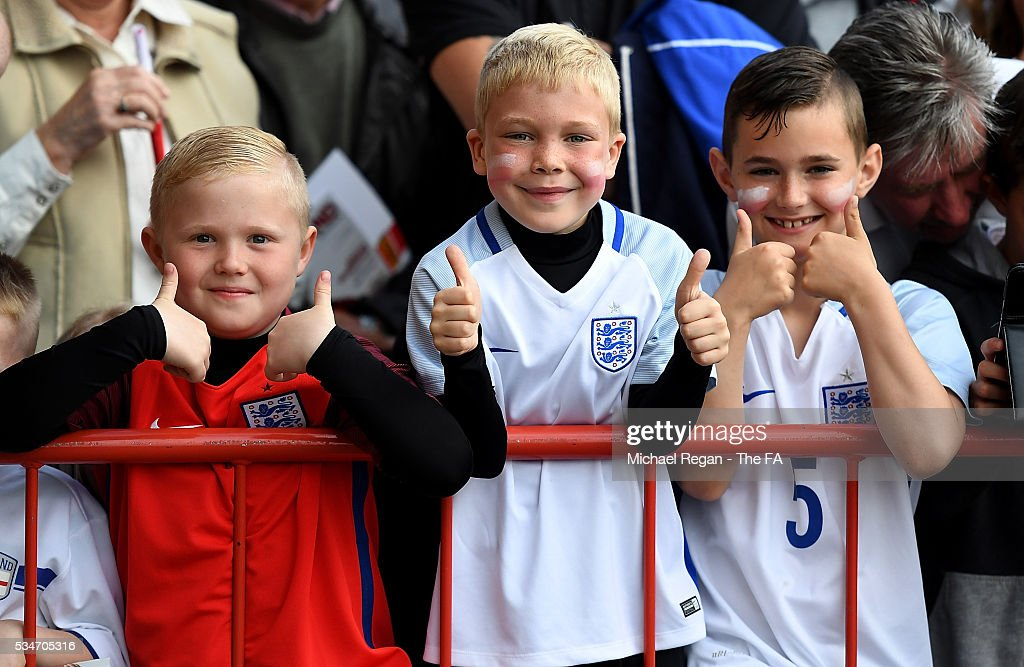 Young England fans look on ahead of the International Friendly match between England and Australia at Stadium of Light on May 27, 2016 in Sunderland, England.