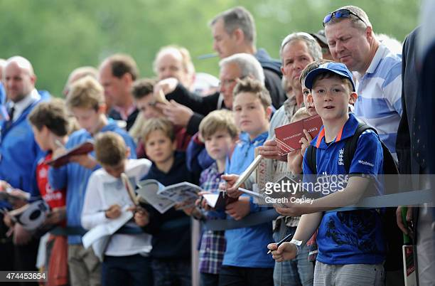 Young England fans wait for autographs ahead of day three of 1st Investec Test match between England and New Zealand at Lord's Cricket Ground on May...