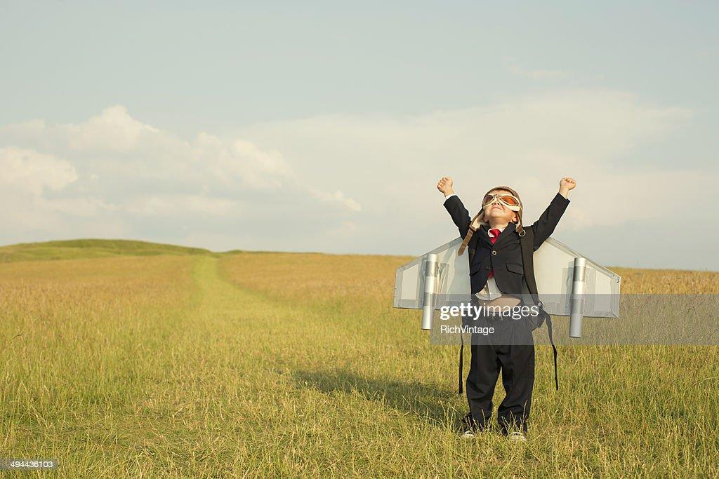 Young English Boy Businessman Wearing Jetpack : Stock Photo