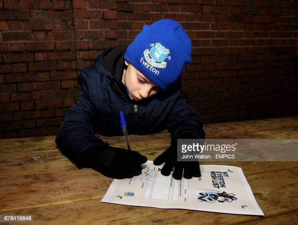 A young Everton fan fills in his Everton wishlist