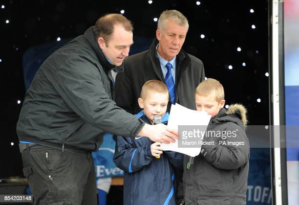 Young Everton fans at the Everton Roadshow outside the ground before the game