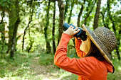 Young child exploring and watching birds with binoculars.