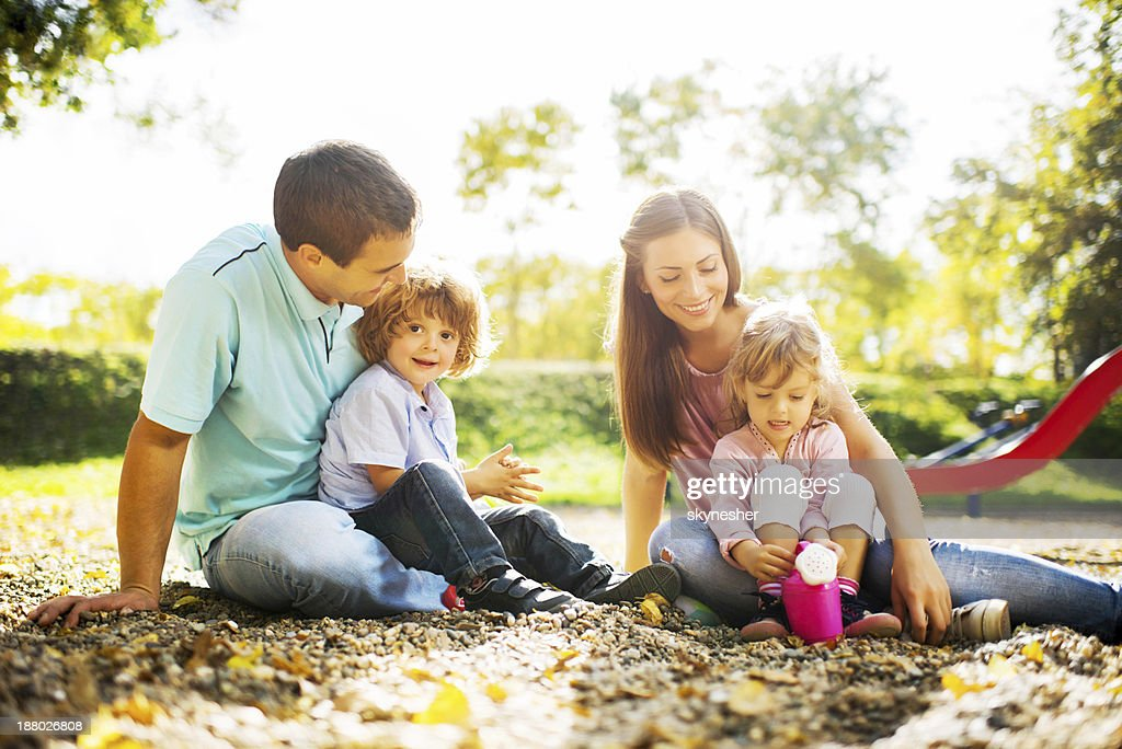 Young family at the playground.