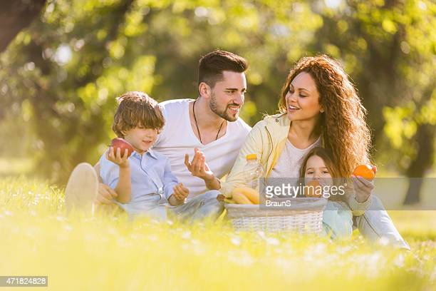Young family communicating on a picnic at the park.