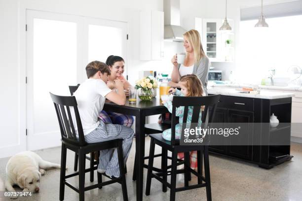 Young Family Eating Breakfast