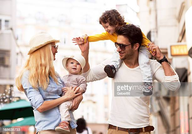 Young family enjoying city life