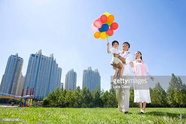 Young family enjoying the park