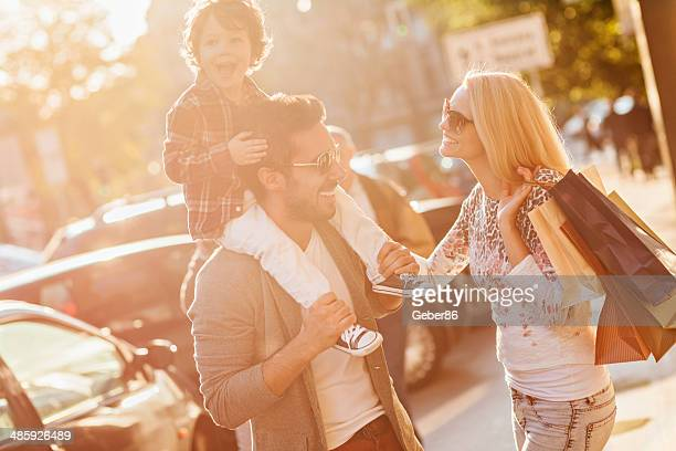 Young family in shopping