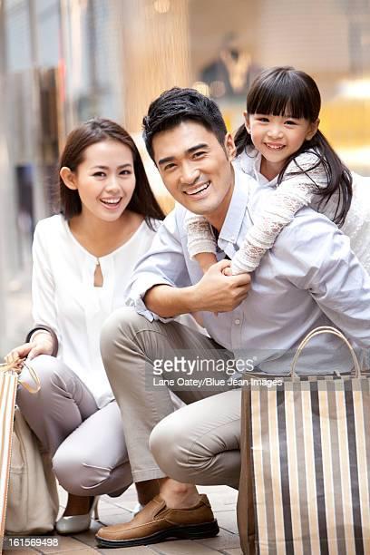 Young family shopping in Hong Kong