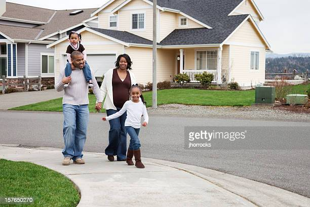 Young Family Taking a Stroll