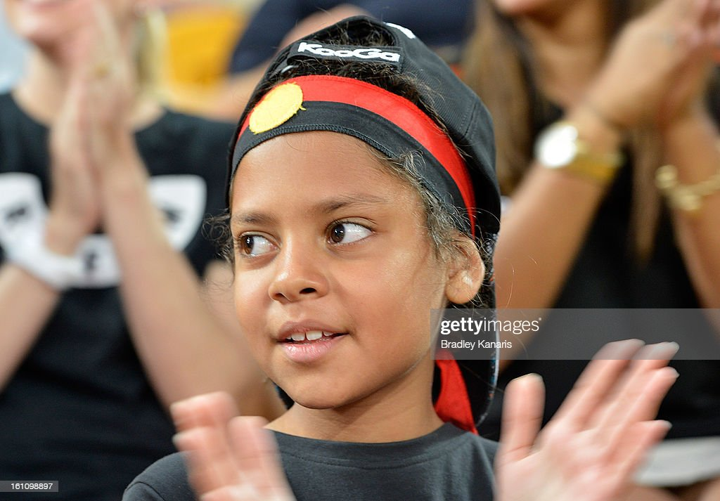 A young fan enjoys the game during the NRL All Stars Game between the Indigenous All Stars and the NRL All Stars at Suncorp Stadium on February 9, 2013 in Brisbane, Australia.