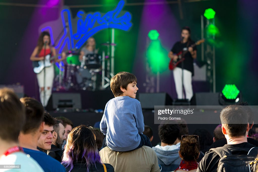 Young fan enjoys the Hinds performance on Vodafone stage at Rock in Rio on May 29, 2016 in Lisbon, Portugal.
