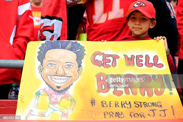 A young fan holds a sign in support of Eric Berry before the Kansas City Chiefs vs Oakland Raiders game at Arrowhead Stadium on December 14 2014 in...