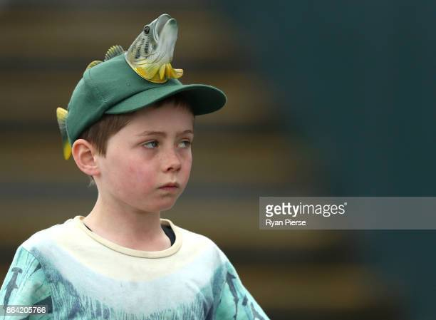 A young fan looks on during the JLT One Day Cup Final match between Western Australia and South Australia at Blundstone Arena on October 21 2017 in...