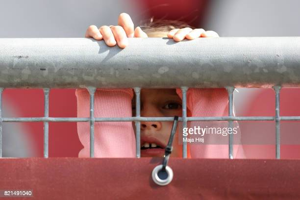Young Fan looks on prior the UEFA Women's Euro 2017 Group D match between Scotland v Portugal at Sparta Stadion on July 23 2017 in Rotterdam...