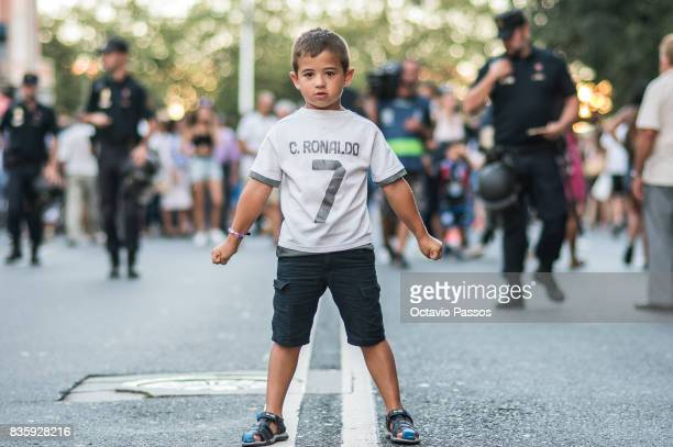 Young fan of Cristiano Ronaldo outside the Riazor Stadium prior the La Liga match between Deportivo La Coruna and Real Madrid at Riazor Stadium on...