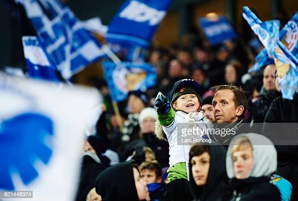 A young fan of FCZ Copenhagen cheer prior to the Danish Alka Superliga match between FC Copenhagen and Sonderjyske at Telia Parken Stadium on...