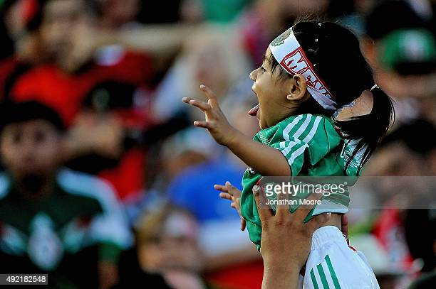 A young fan of Mexico in the stands before the 2017 FIFA Confederations Cup Qualifier at Rose Bowl on October 10 2015 in Pasadena California