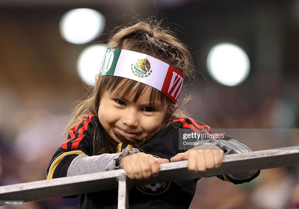A young fan of Mexico looks on during an international friendly match against Denmark at University of Phoenix Stadium on January 30, 2013 in Glendale, Arizona. Mexico and Denmark ended in a 1-1 draw.