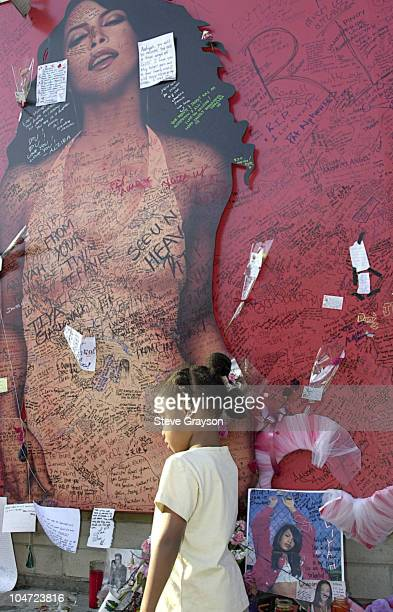 A young fan of RB singer/actress Aaliyah looks on at a record store mural of the late singer in what has become a shrine dedicated to her after her...