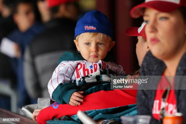 A young fan of the Philadelphia Phillies watches play during a game against the Washington Nationals at Citizens Bank Park on May 7 2017 in...