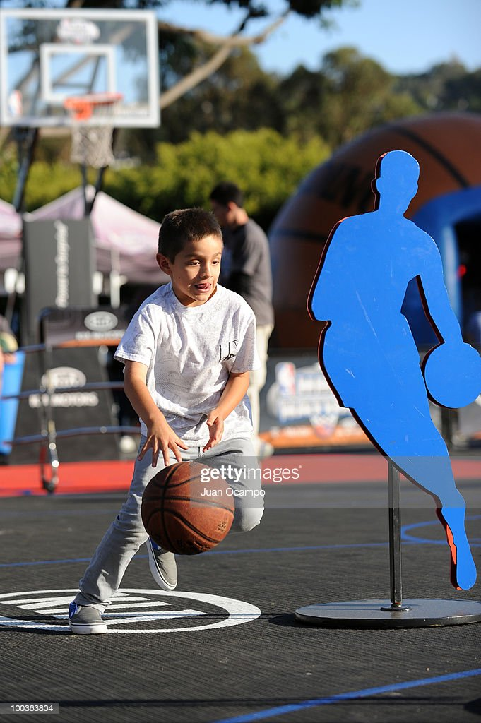 A young fan participates in the NBA Nation Tour on May 23, 2010 at Universal City Walk in Universal City, California.