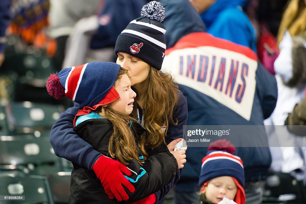 A young fan reacts after the Cleveland Indians lost to the Chicago Cubs during the Cleveland Indians World Series Watch Party at Progressive Field on October 30, 2016 in Cleveland, Ohio.