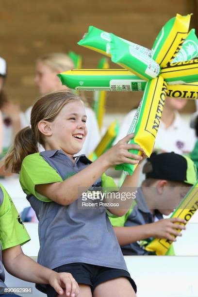 A young fan shows her support during the Women's Big Bash League match between the Sydney Thunder and the Melbourne Stars at Lavington Sports Ground...