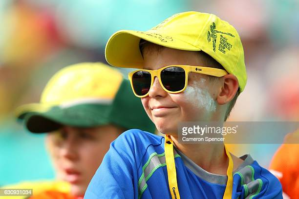 A young fan shows his colours during day two of the Third Test match between Australia and Pakistan at Sydney Cricket Ground on January 4 2017 in...