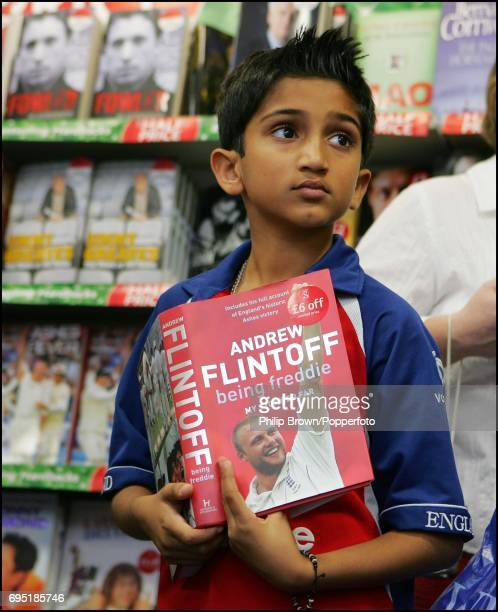 A young fan waits as Andrew 'Freddie' Flintoff signs copies of 'Being Freddie' at Waterstones book shop in London on 27th October 2005