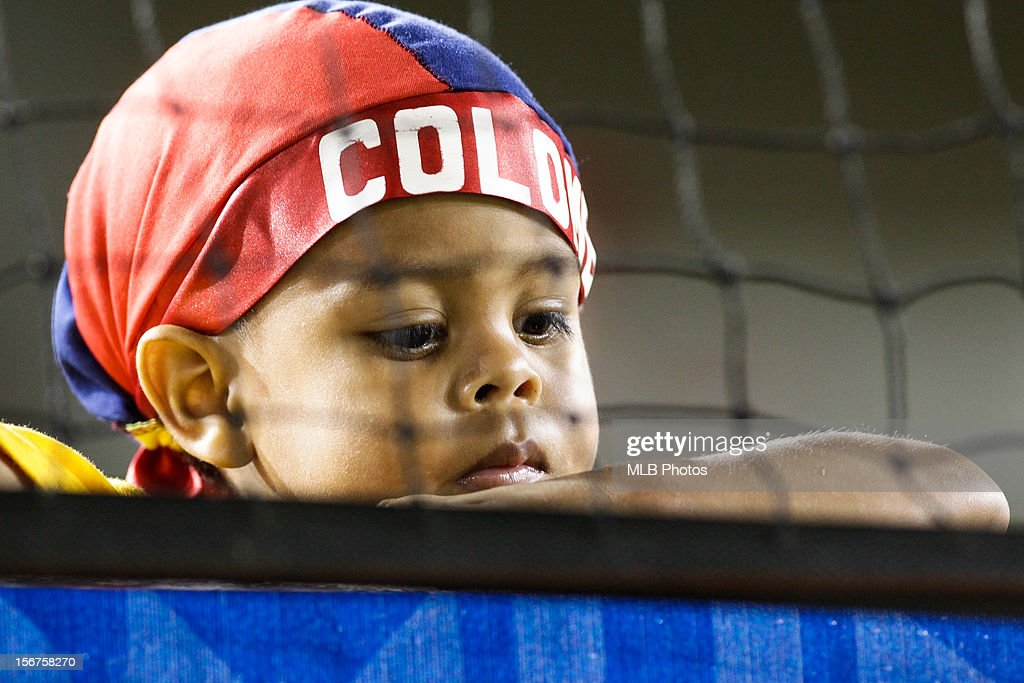 A young fan wearing the colors of Team Colombia is seen in the stands during Game 5 of the Qualifying Round of the World Baseball Classic between Team Panama and Team Colombia at Rod Carew National Stadium on Sunday, November 18, 2012 in Panama City, Panama.