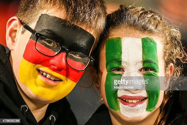 Young fans are seen during the FIFA U20 World Cup New Zealand 2015 Round of 16 match between Germany and Nigeria at Christchurch Stadium on June 11...