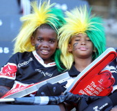 Young fans are seen during the Vodacom Cup match between Cell C Sharks XV and DHL Western Province at Growthpoint Kings Park on March 15 2014 in...