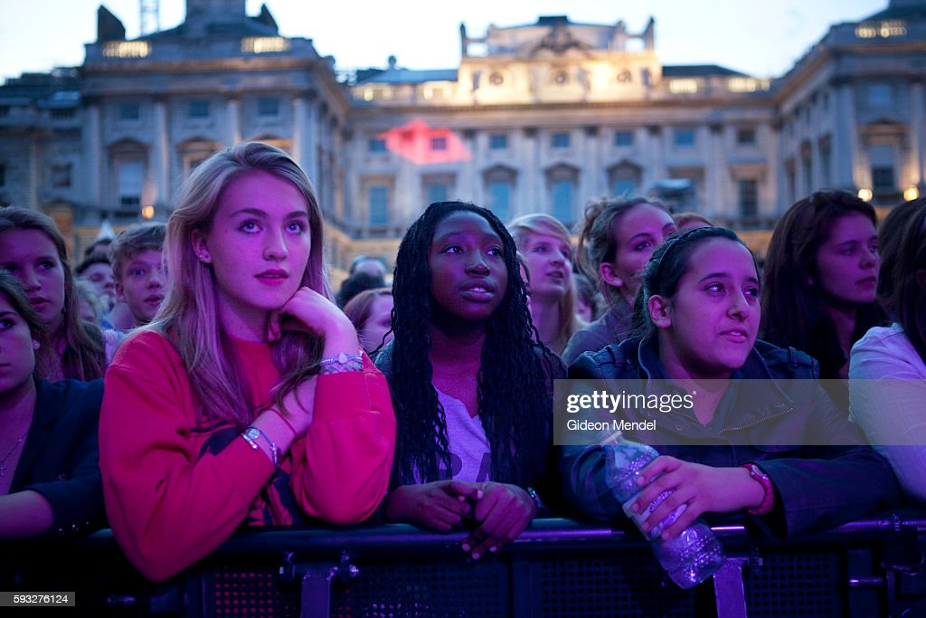 Young fans at the front of the audience respond to a performance by the popular new folk group Stornaway at Somerset House during the Summer Series...