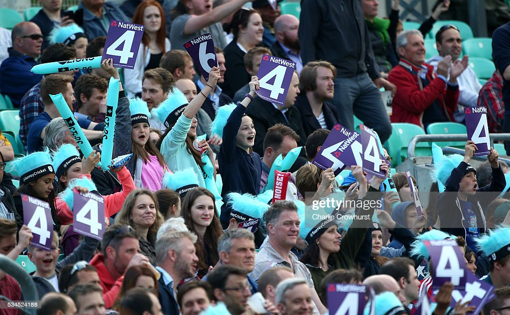 Young fans celebrate a boundary during the Natwest T20 Blast match between Surrey and Glamorgan at The Kia Oval on May 26, 2016 in London, England.